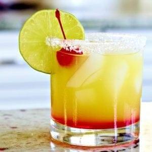 Tequila Sunrise Margarita on the rocks