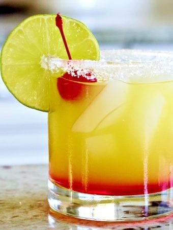 Tequila Sunrise Margarita on the rocks