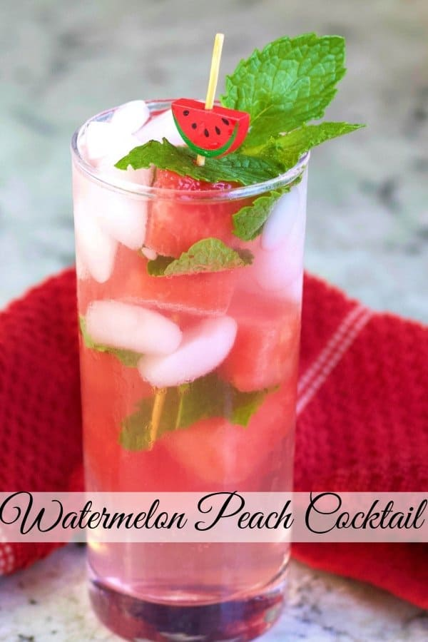 Pinterest Pin for Watermelon Peach Cocktail