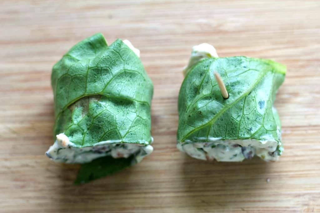 Romaine lettuce wraps with cream cheese filling-Top view