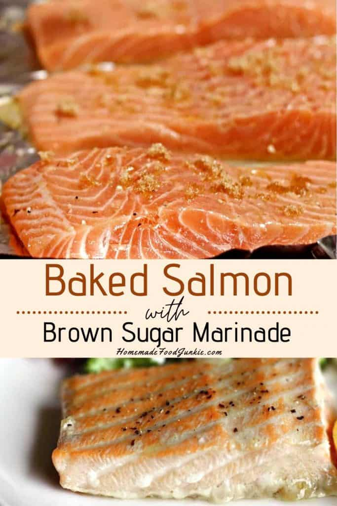 Baked Salmon with brown sugar marinade-pin image