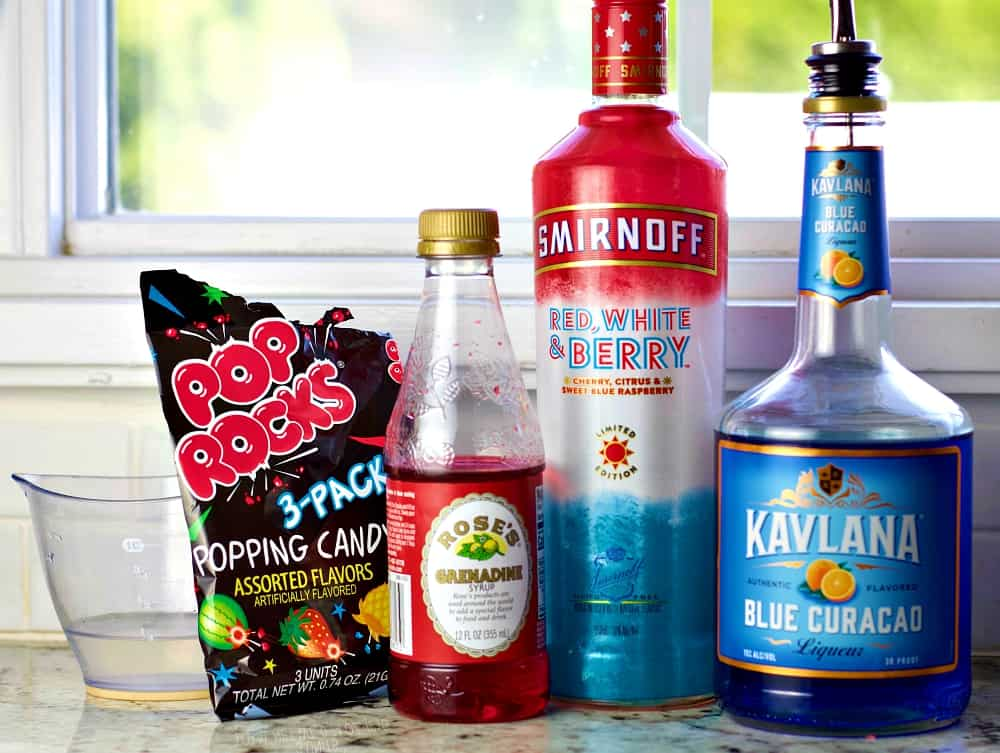 ingredients for the red white and berry Smirnoff cocktail