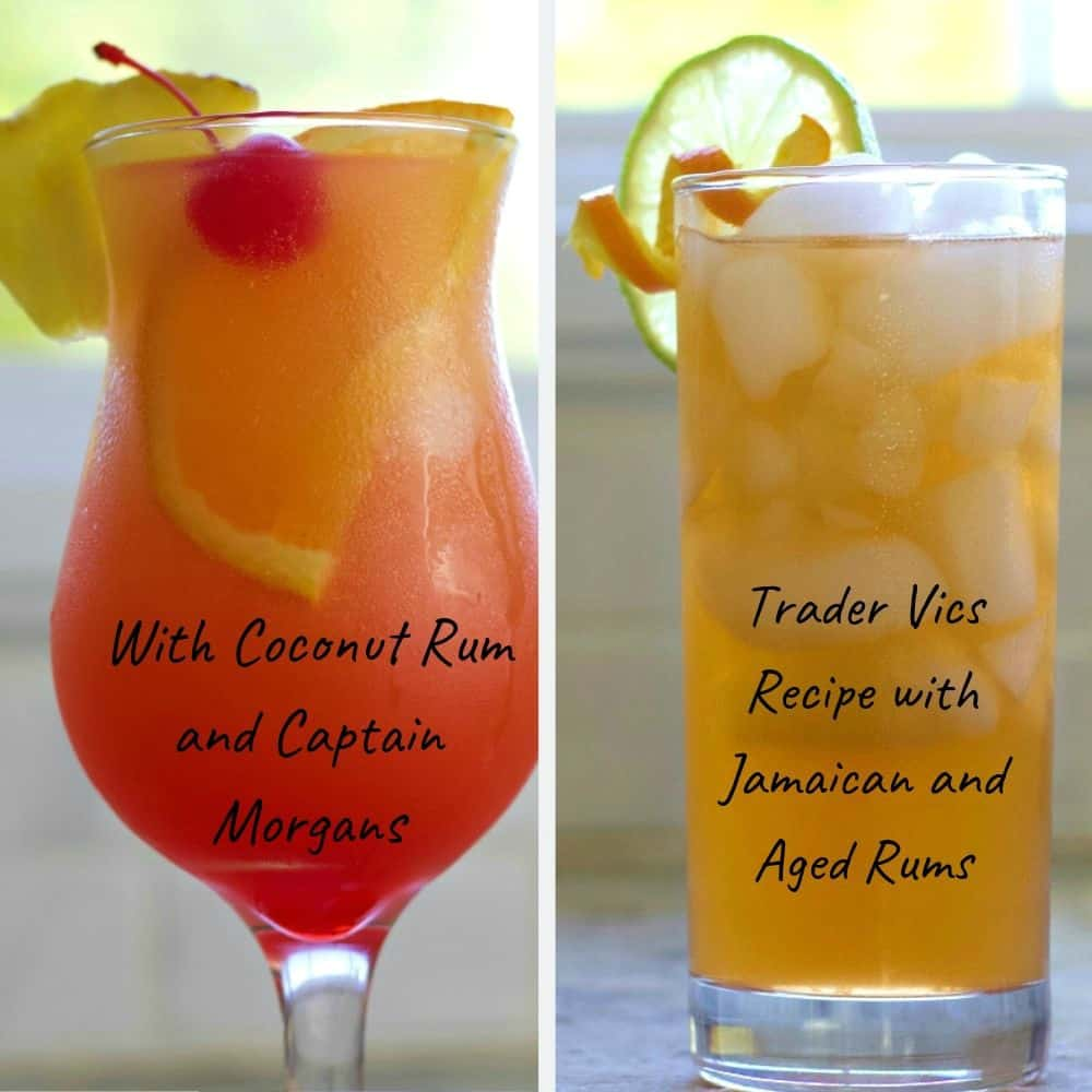 Two delicious Mai Tai Recipes with very different ingredients and flavors. Trader Vic's Recipe and the fruity sweet Alcoholic drink recipe with malibu rum and Captain morgans.