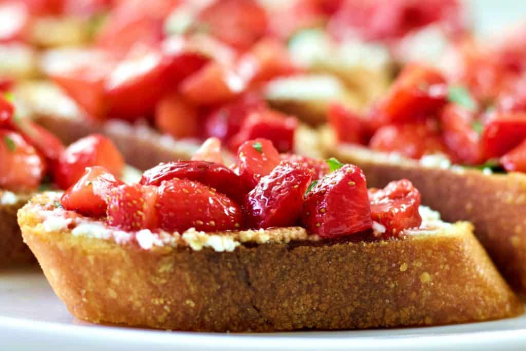 strawberry bruschetta on a plate
