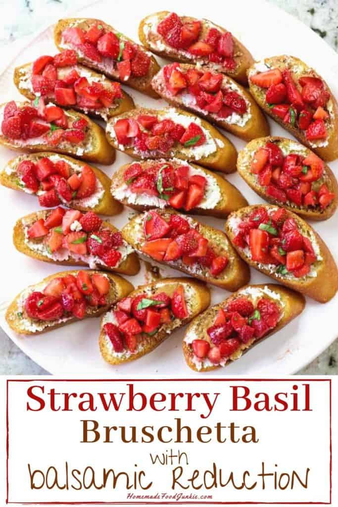 Strawberry Basil Bruschetta with balsamic reduction-pin image