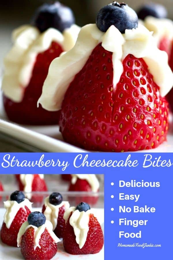 Pin Image for Strawberry cheesecake bites recipe