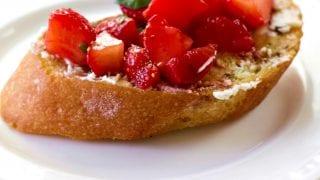 Strawberry Basil Bruschetta Recipe with Goat Cheese
