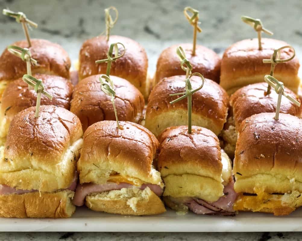 ham and cheese sliders top view of baked sliders.