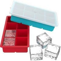 Vremi Large Silicone Ice Cube Trays (2 Pack) - Ideal for Whiskey, Cocktails, Soups, Baby Food and Frozen Treats - Flexible and BPA Free, Produces 8 Cubes per Tray - Includes Covers for Easy Stacking