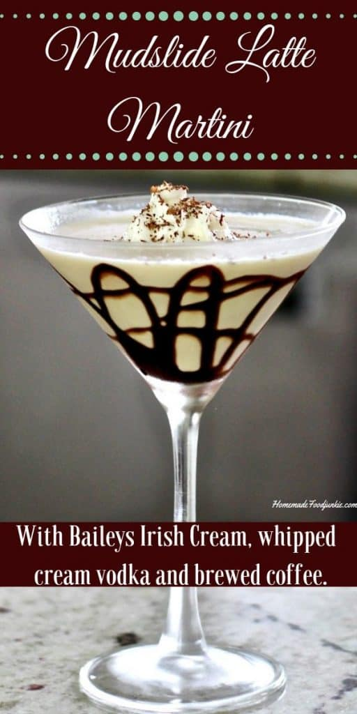 This Baileys Mudslide  is a delicious dessert cocktail full of creamy coffee flavor. Pin image.