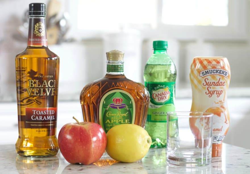 Ingredients for this Crown royal Apple Caramel Whiskey Cocktail