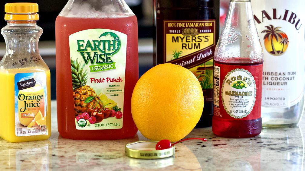all the ingredients for this Bayou rum punch recipe