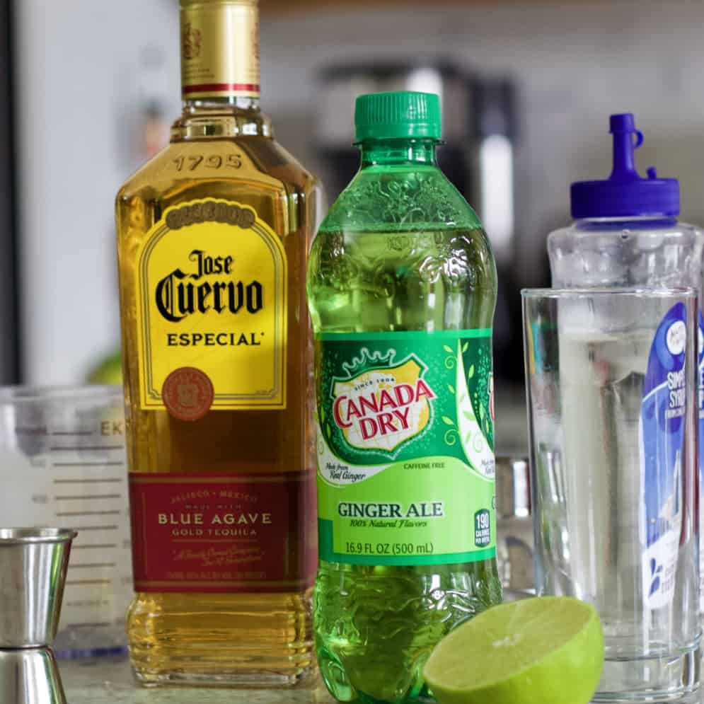 The ingredients sitting on a counter for the Mexican Mule
