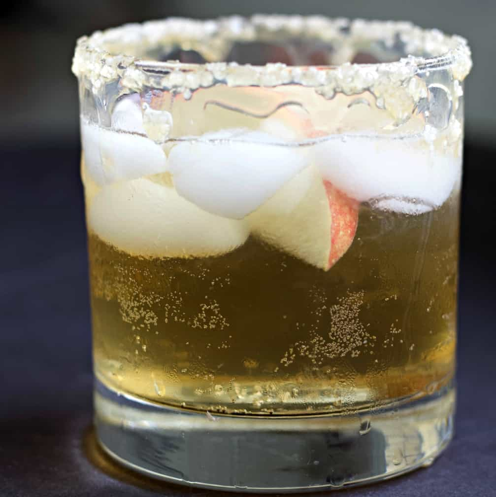 Rimmer Glass with crown royal apple salted caramel drink