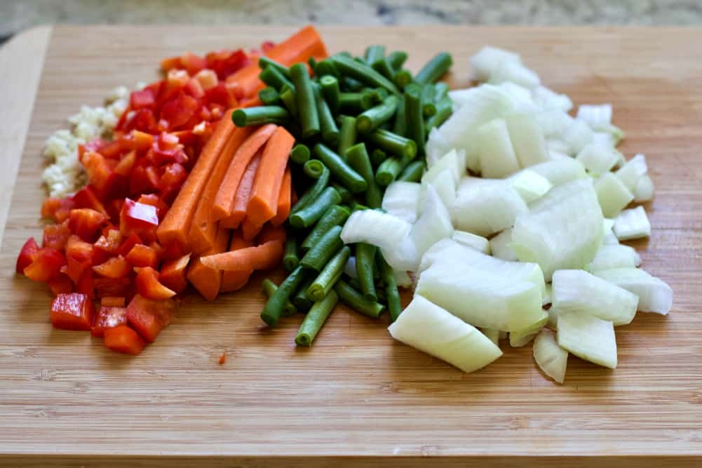 chopped vegetables on a cutting board.