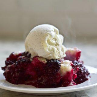 Blackberry cobbler with vanilla bean ice cream