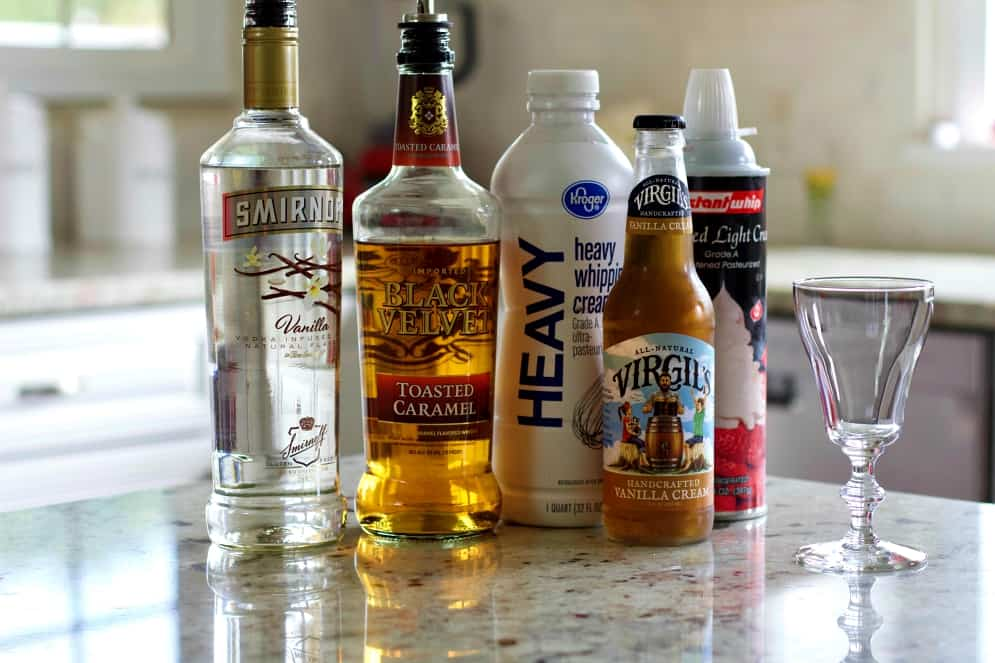 Ingredients for the Caramel Vanilla Cream soda cocktail