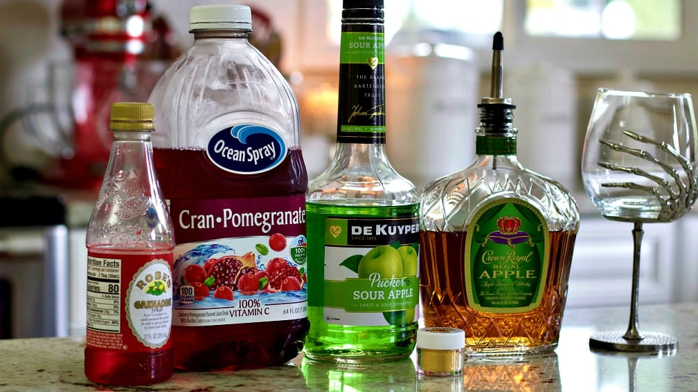 Sour Apple Pucker, Crown royal apple and other ingredients for the poison apple sitting on the counter