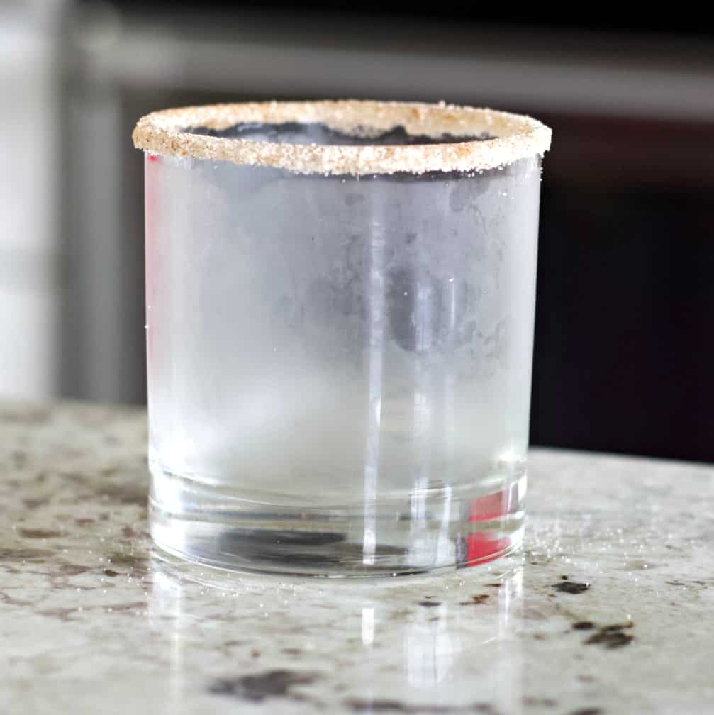 Glass rimmed for pumpkin spice White russian cocktail