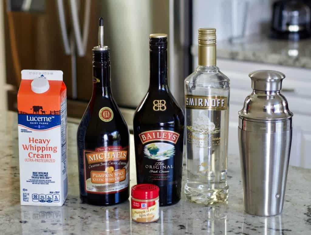 Ingredients for the Pumpkin Spice Martini