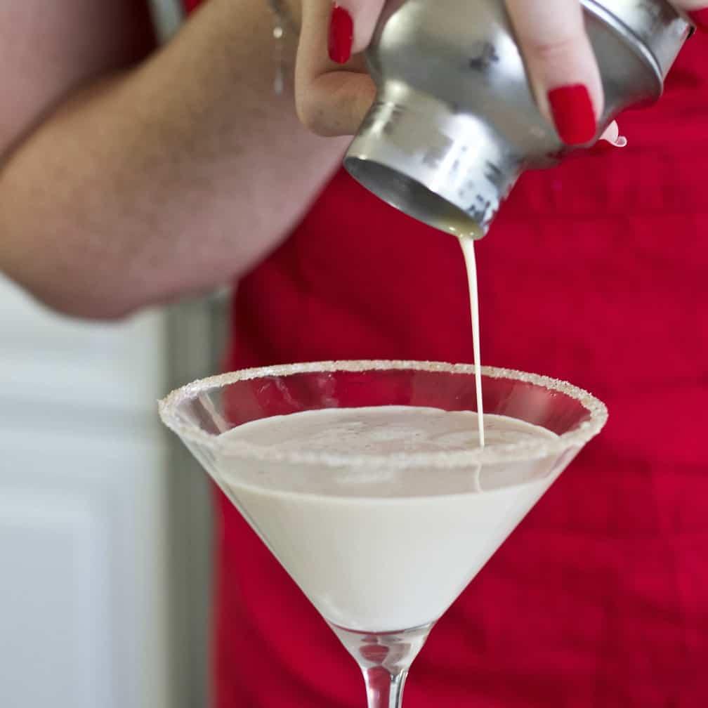 Pouring a Pumpkin spice Martini