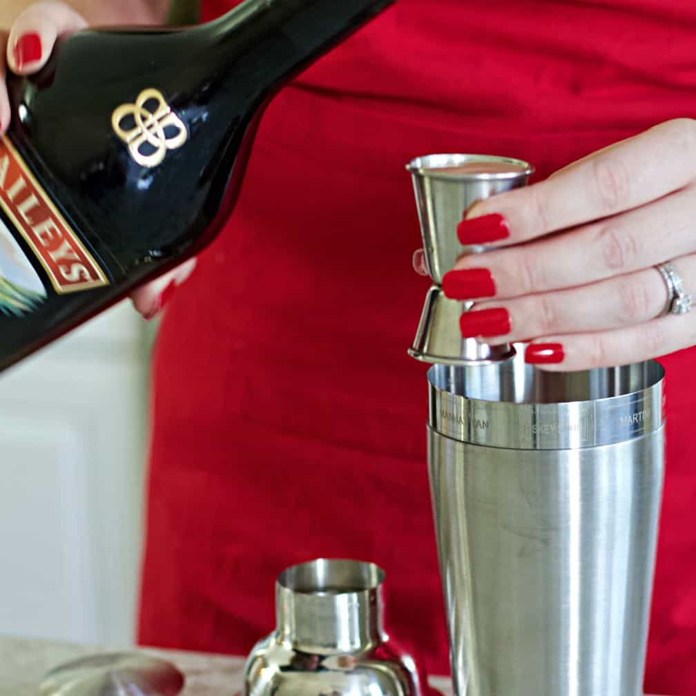 pouring Baileys Irish Cream