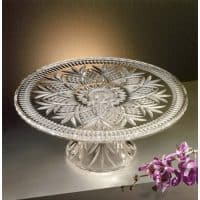 "Godinger DUBLIN CAKE PLATE,Clear,12"" cake plate with stand"