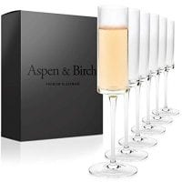 Aspen &Amp; Birch | Modern Champagne Flutes Set Of 6 | Champagne Glasses | Mimosa Glasses | Hand Blown Glass Champagne Flutes | Clear | 6Oz | 100% Lead Free Crystal Stemware |