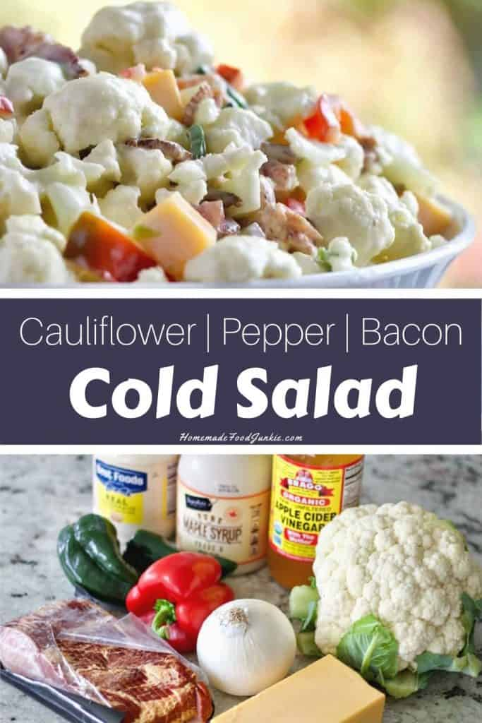 cauliflower pepper bacon cold salad-pin image