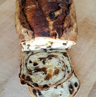 Sliced cinnamon raisin bread