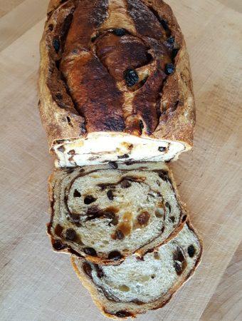 Sliced cinnamon raisin bread