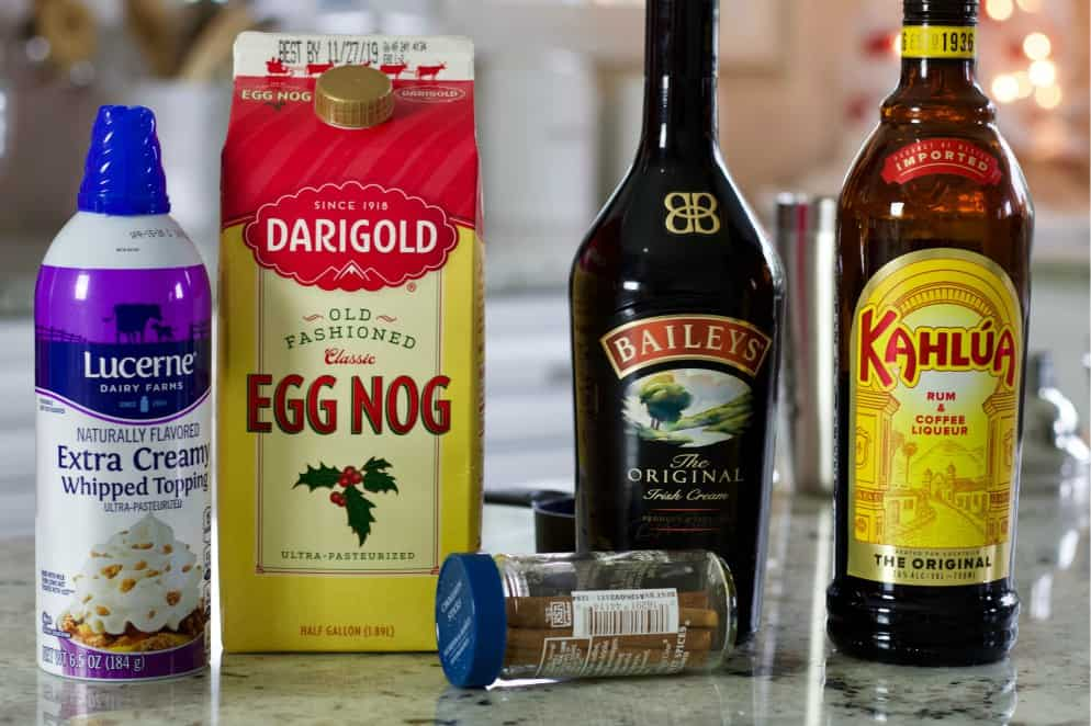 ingredients for eggnog cocktail