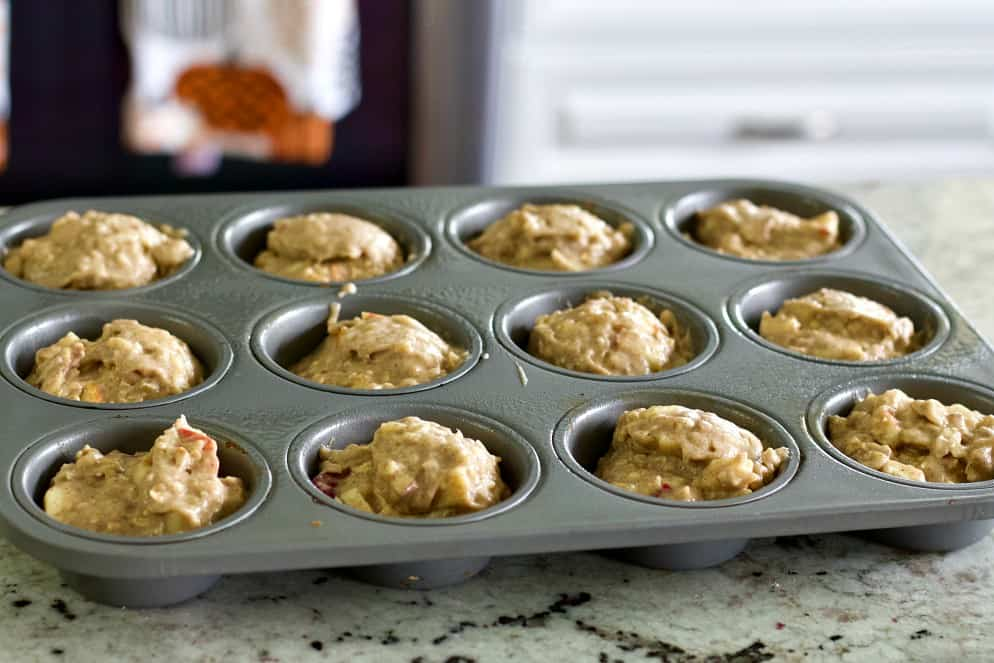 fresh apple spice muffin batter