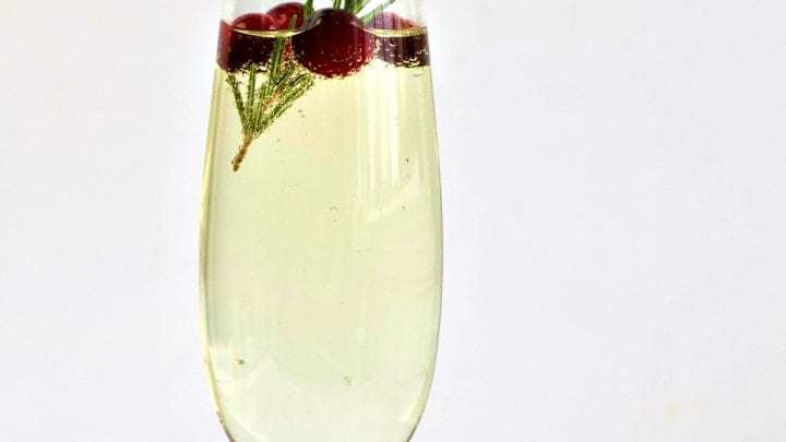 White Cranberry Mimosa with Rosemary