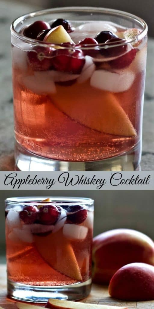 apple berry whiskey cocktail