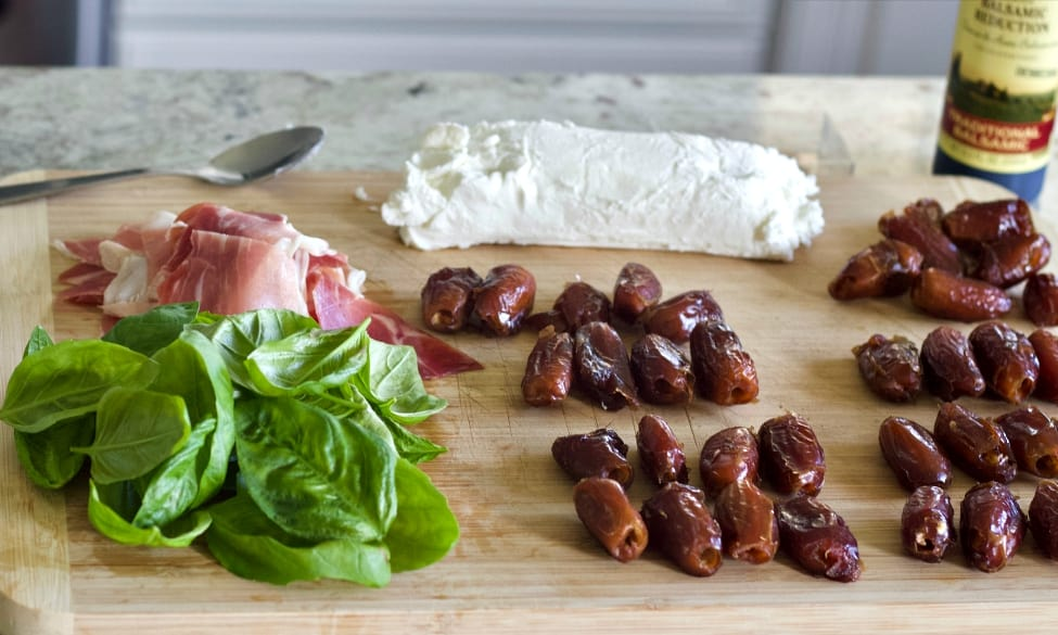 Ingredients for Prosciutto wrapped dates with Goat cheese