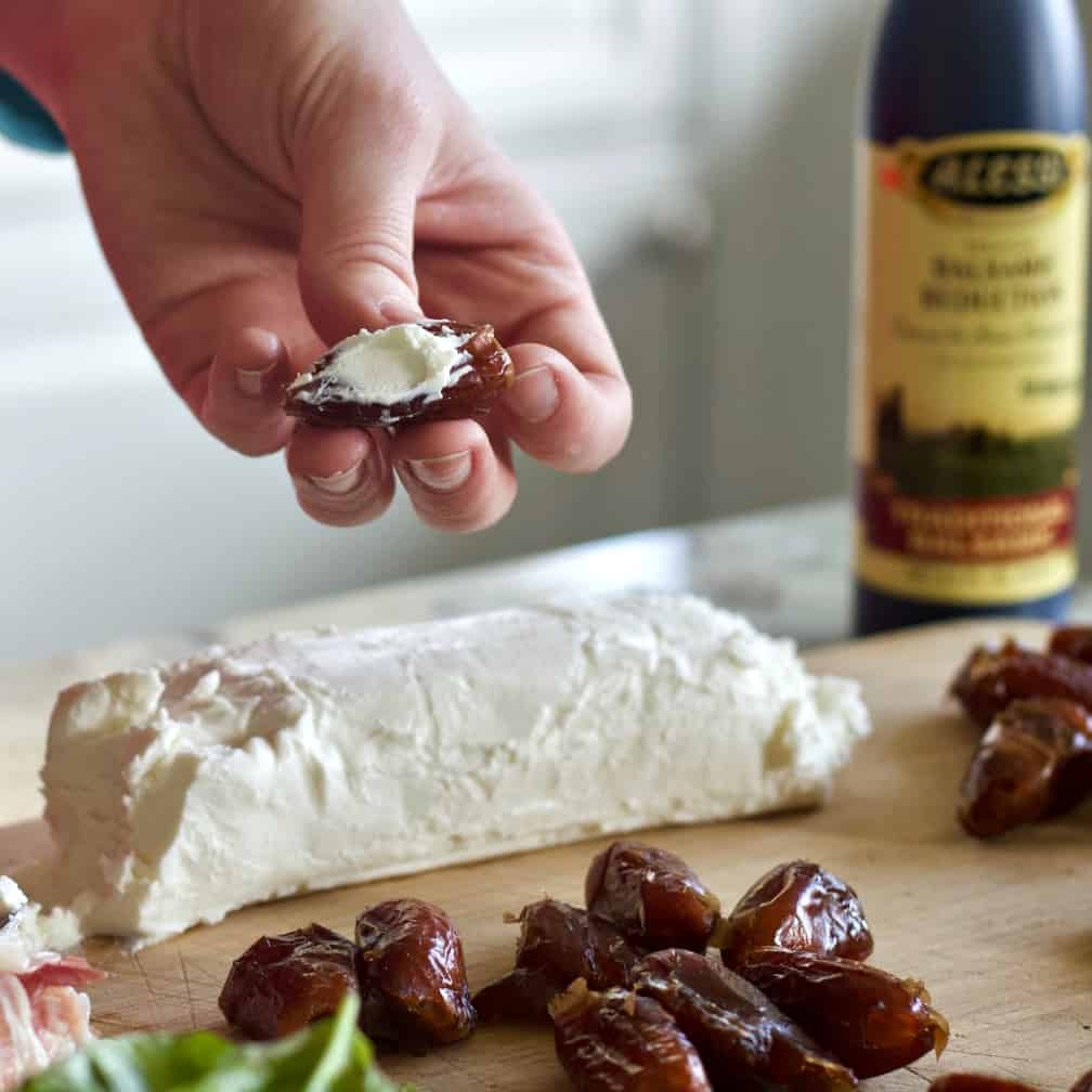 stuff each date with goat cheese
