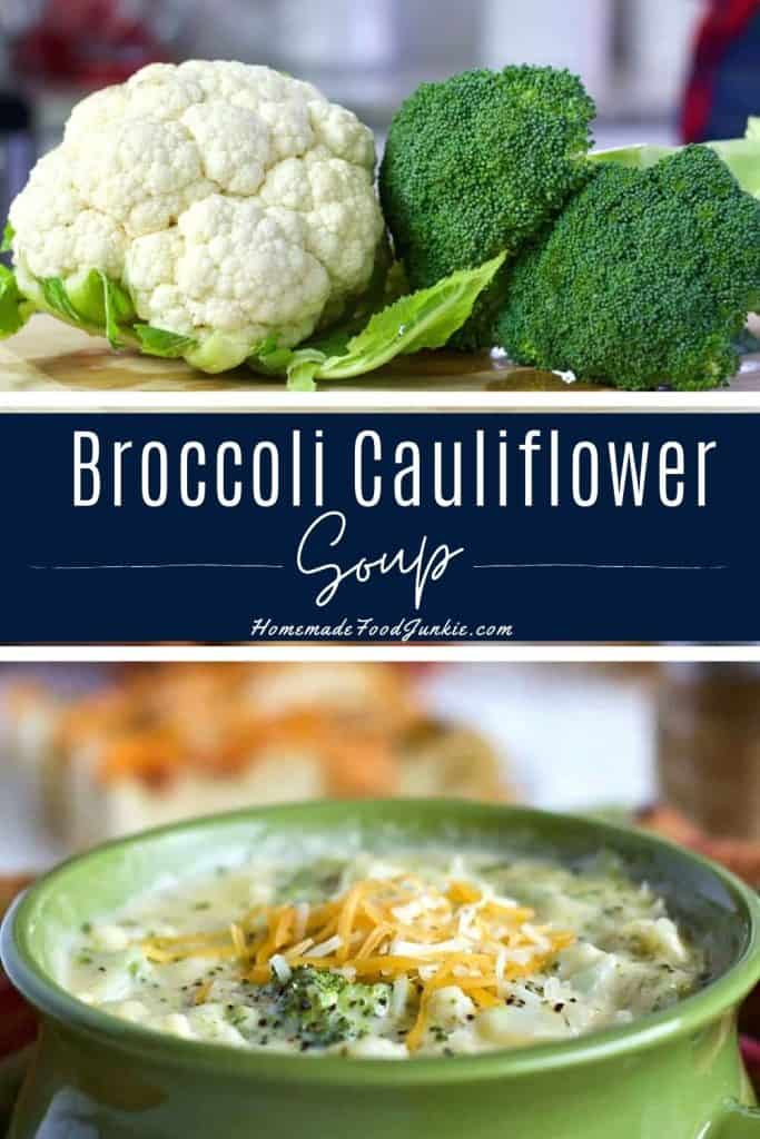 Broccoli cauliflower soup-pin image