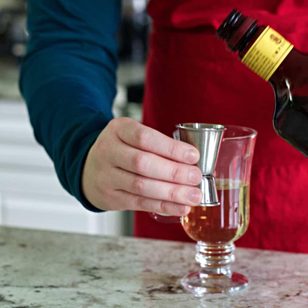 pouring dark rum