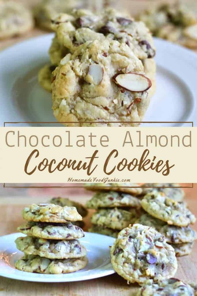 chocolate almond coconut cookies-pin image