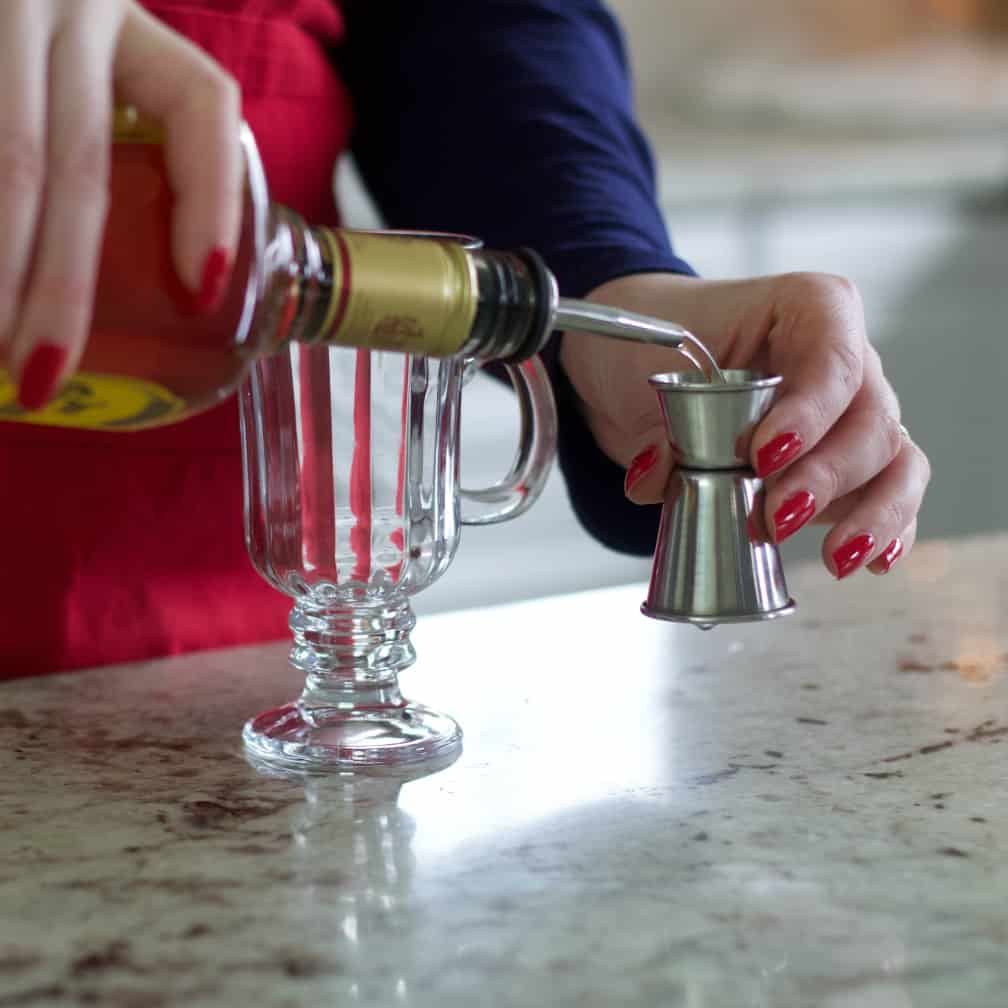Pouring Jose Cuervo Gold-Mexican coffee