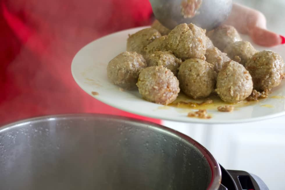 Remove Meatballs To Plate