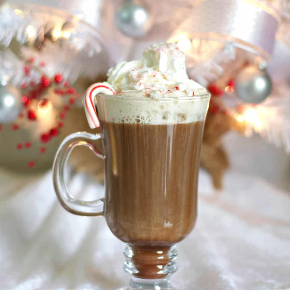 garnished peppermint hot chocolate drink