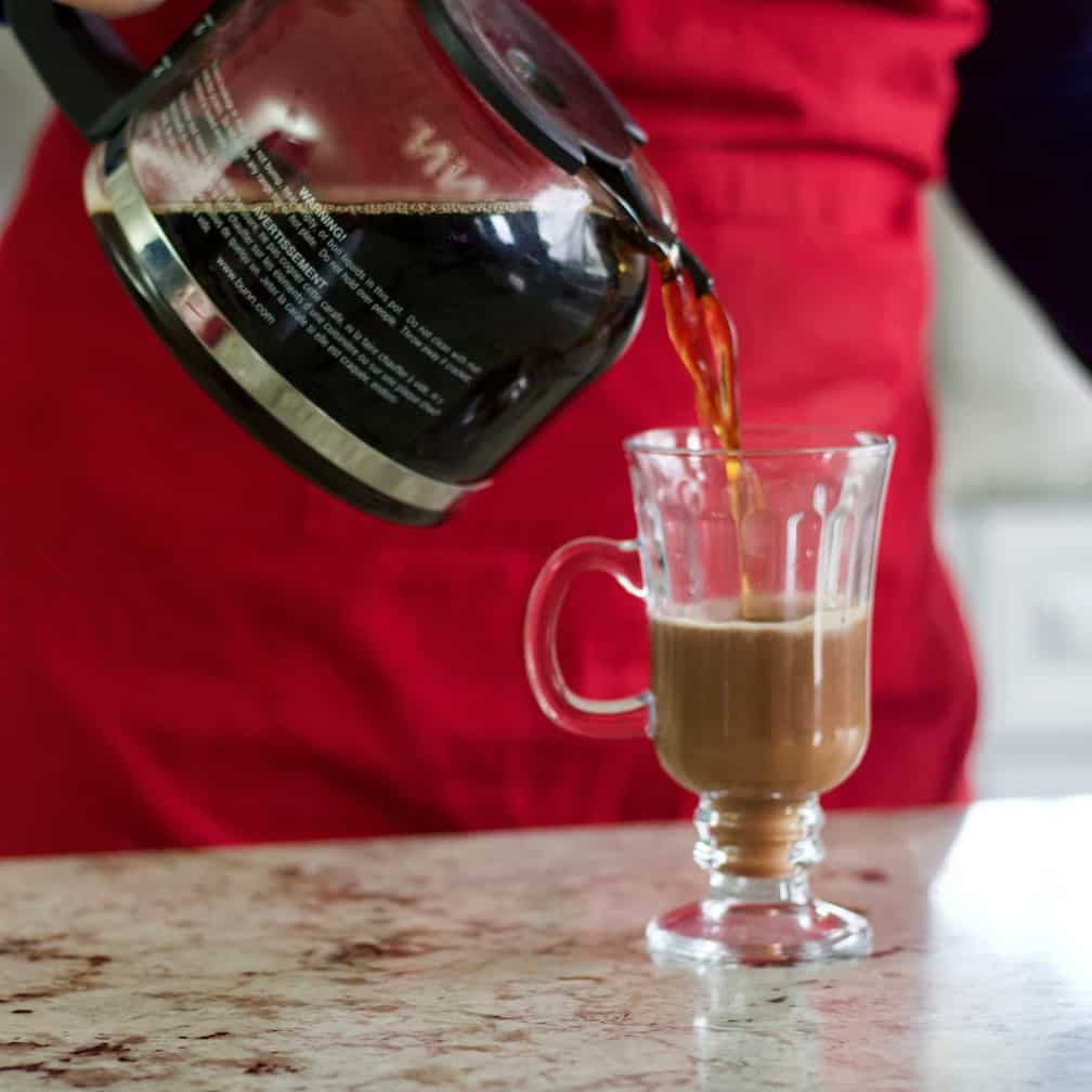 Pouring Coffee into glass Irish coffee mug-peppermint hot chocolate recipe