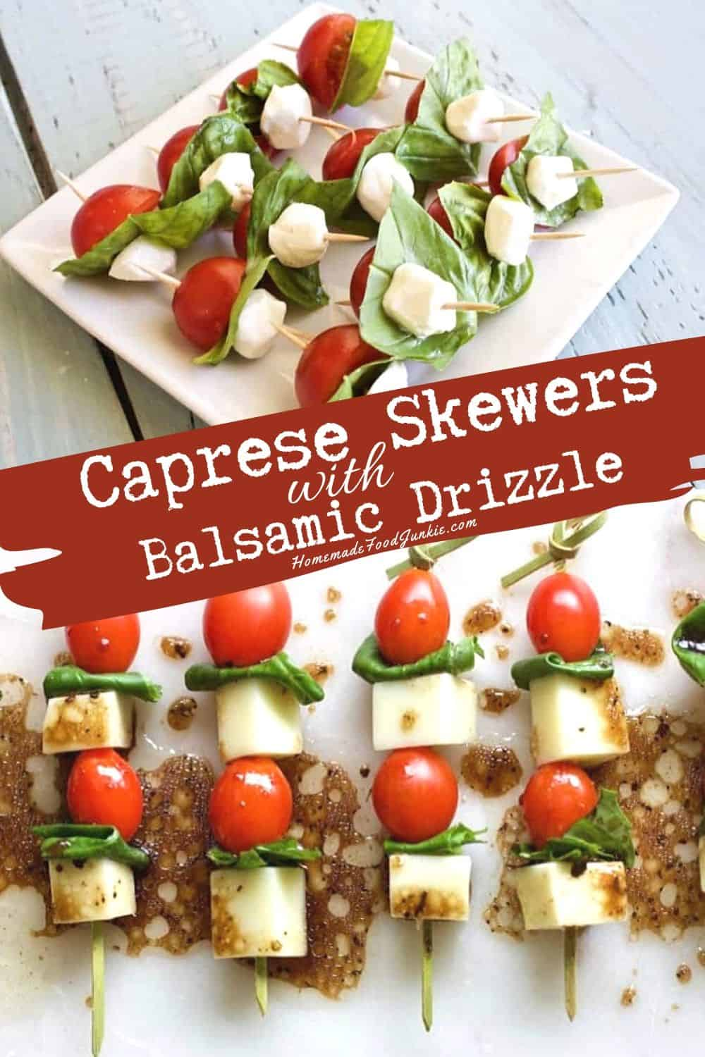 Caprese Skewers with balsamic drizzle-pin image