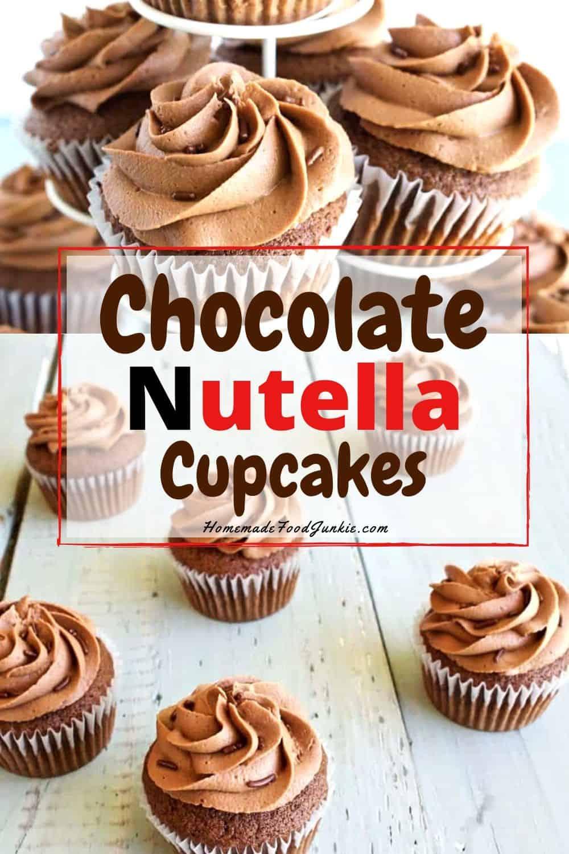 Chocolate Nutella Cupcakes-pin image