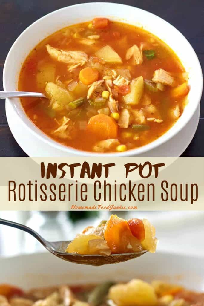 Instant Pot rotisserie chicken soup-pin image