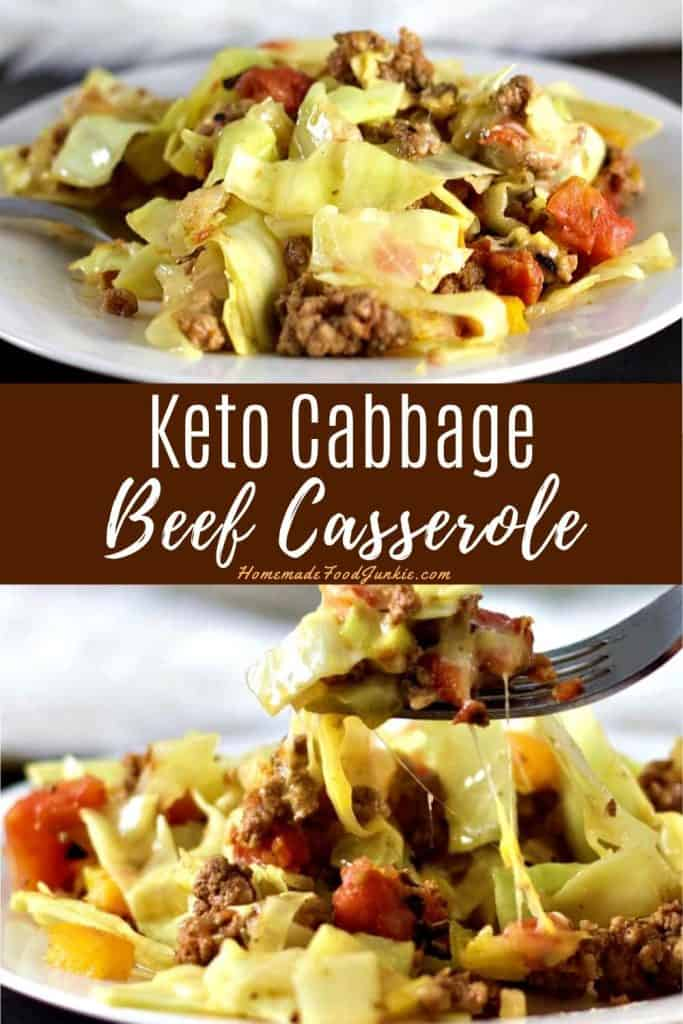 keto cabbage beef casserole-pin image