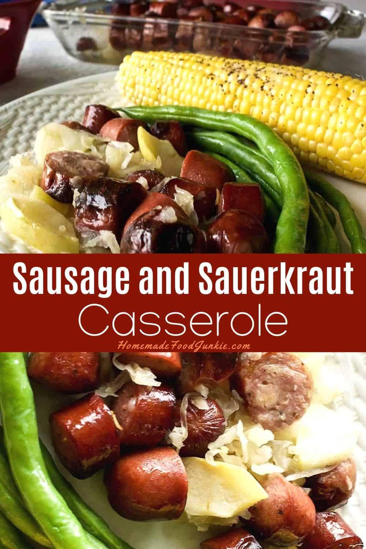 Sausage and Sauerkraut Casserole-pin image
