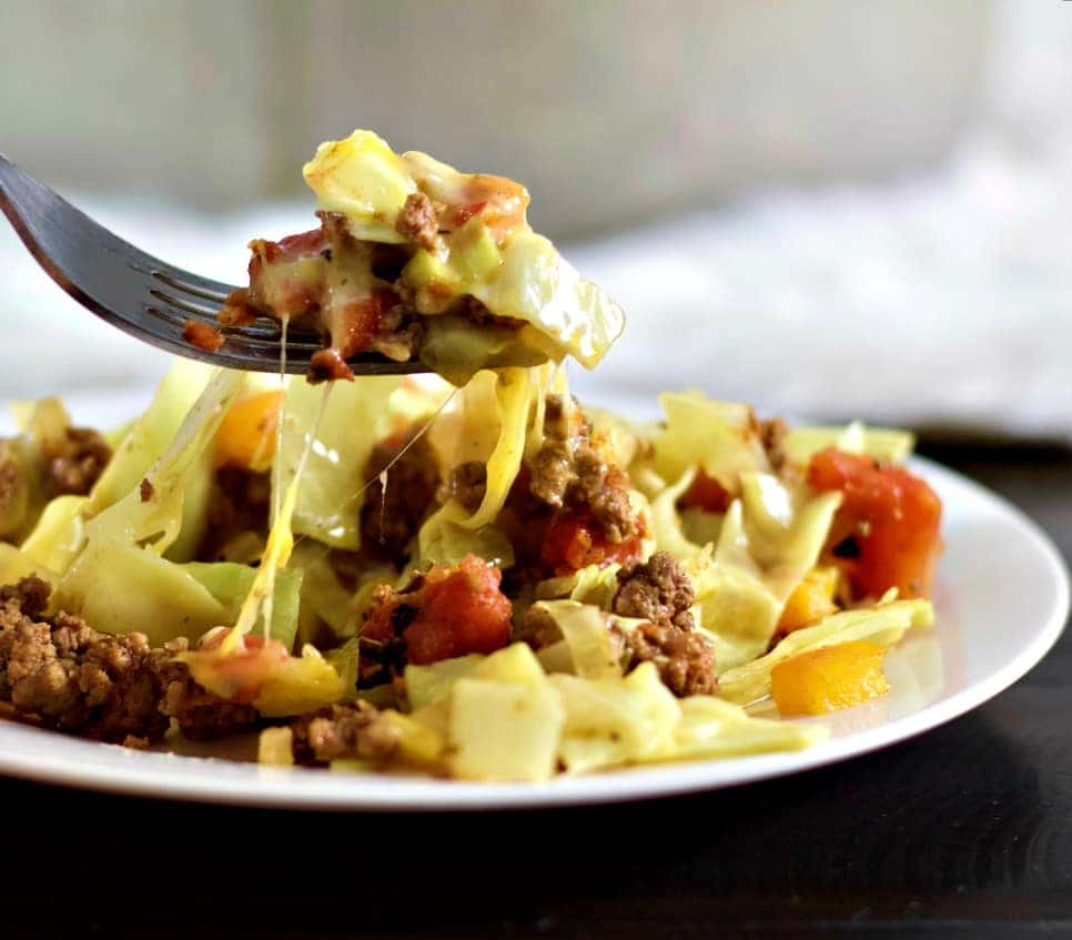 Cabbage casserole on a fork